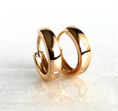 9be50e56ba8ea TINY SMALL THIN Huggie Hoop Earrings Genuine 18K Gold Plated Child ...