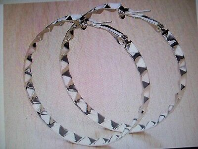 """925 Sterling Silver Plated Dangle Round Hoop Earrings 2"""" Inch  Gift Box Included"""