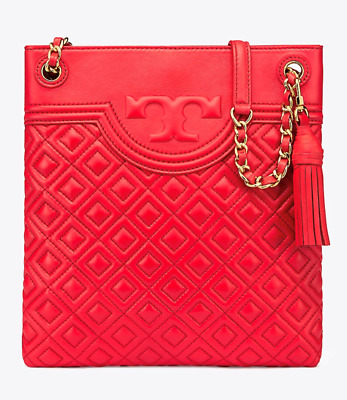 e1485d651565 NWT Authentic TORY BURCH Fleming Leather Swingpack Red Volcano w  Gift Bag   458