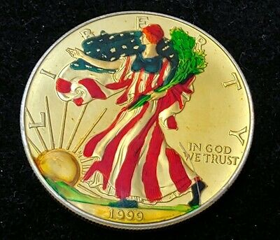 1999 AMERICAN EAGLE SILVER DOLLAR COLORED STANDING LIBERT Resin laminated