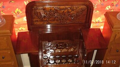 Vintage Chinese Hand Carved Rosewood Drinks/Cocktail Cabinet