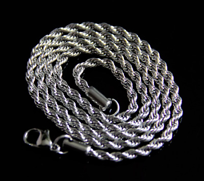 "24"" Men's Women's Silver 316L Stainless Steel 2.5mm Rope Chain Necklace Classic"