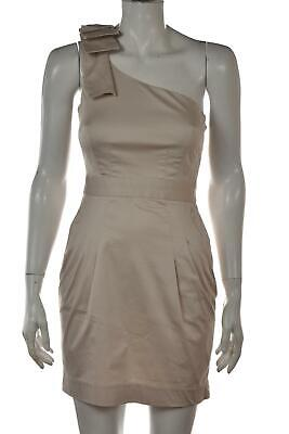French Connection Womens Dress Size 2 Beige Solid Sheath Short Sleeveless Cotton