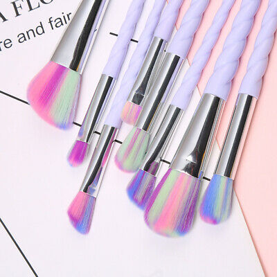10pcs Unicorn Makeup Brush Cosmetic Eyeshadow Face Powder Brushes Rainbow Set