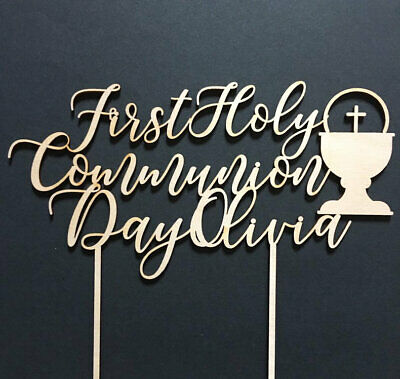 First Holy Communion Custom Cake Topper, Gold Cake Topper Any Name