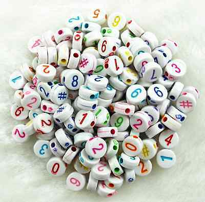 100Pcs 6mm  White Assorted Number Acrylic Round Spacer Loose Beads # 2