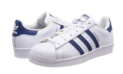 check out 26332 a8877 Adidas Superstar J, F34163, Pelle, Stringate, Bianco blu Legend Marine
