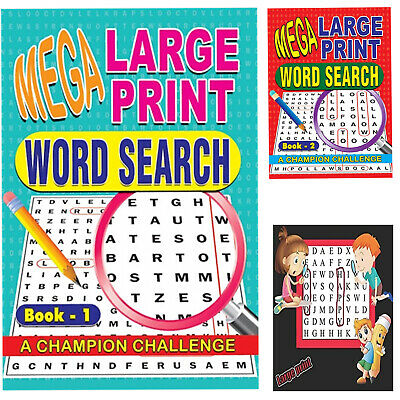 Set of 2 1&2 A4 Mega Large Print Word Search Puzzle Book A Champion Challenge