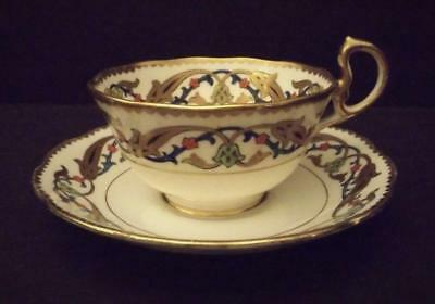 Vintage Royal Albert Crown China Persian Footed Cup and Saucer Gold Gilt England