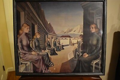"Paul Delvaux - ""Village of the Mermaids"" Print - Framed Under Glass - Excellent!"