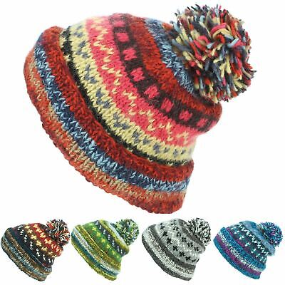 Chunky Wool Hat Knit Abstract Pattern Beanie Bobble Ski Winter New