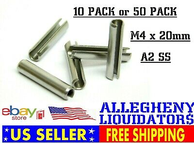 10 PACK! (M4 x 20mm) A2 304 Stainless Steel Roll Split Spring Dowel Lock Pin NH