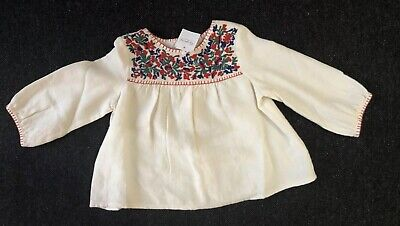 BNWT Bonpoint Ivory Cream Embroidered Smock Top Blouse 12 Months