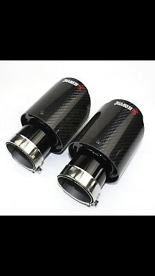 "Akrapovic Exhaust Tips Carbon Fiber Gloss Black C63 S3 Gti Golf R Gtr X2 4"" 335d"