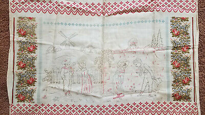 Antique 1870s French Children's Fabric cotton Floral smoking pipe antelope deer