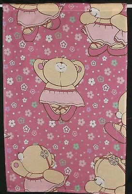 """SMALL CURTAIN 18""""w x 28"""" Pink FOREVER FRIENDS Ballerina +Tie NEW Playhouse Den"""