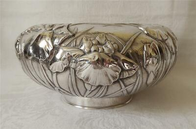 LARGE JAPANESE ANTIQUE MEIJI KONOIKE PURE SILVER BOWL WITH IRISES c1900 772g