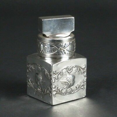 Silver mounted scent bottle William Comyns London 1901 angels perfume sterling