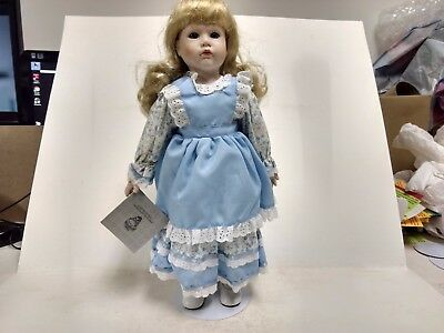 Porcelain Doll Victoria Joanna Blue Vintage Dress Blonde Hair With Stand ds268