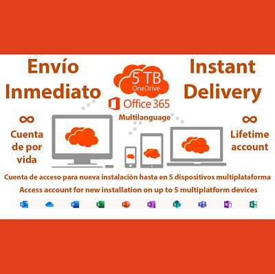 Inmediato Office 365 2019 Pro Plus 5 Dispositivos 5TB Onedrive Licencia Lifetime