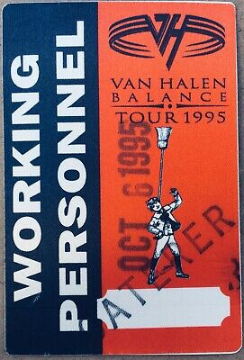 VAN HALEN Balance Arena Working Crew USED Backstage Pass 10/6/1995 Sammy HAGAR