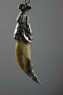 Chinese Collectable Miao Silver Carve Myth Dragon Souvenir Amulet Tibet Pendant