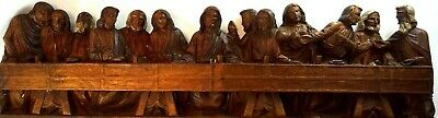 The Last Supper Solid Wood Hand Timber Carving Vintage Religious Collectable