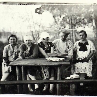 Vintage Real Picture Postcard Picnic Lunch Time Friends Family