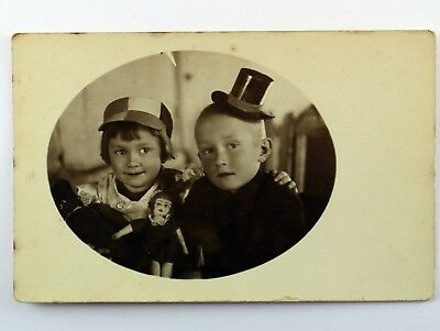 Vintage Real Picture Postcard Two Children in Costume Siblings Collectable