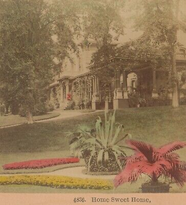 1888 Home Sweet Home Hand Colored Kilburn Stereoview Flowers House Tinted