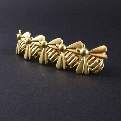 Hair Clip Pin Vintage Gold Tone Bumble Bees Made in France