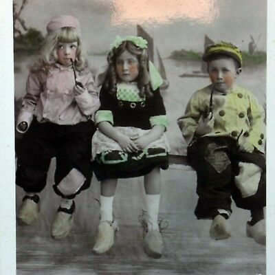 Kids Smoking Pipe Vintage Young Hollanders Real Picture Postcard Photographic