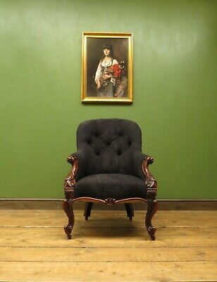 Antique Newly Upholstered Victorian Button Back Armchair Chair Rosewood frame