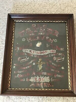 Antique Victorian Perforated Punched Paper Framed Embroidery Sampler - Religious