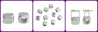 50 Pcs Square Cube Spacer Beads Inserts For Jewelry Making Tibetan Silver 4 mm