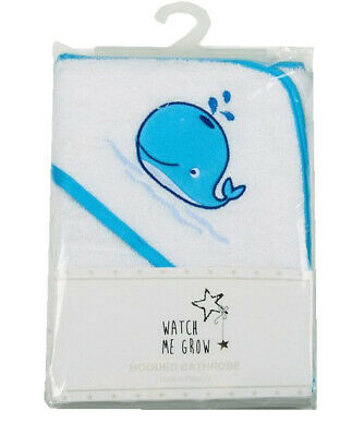 Towel Hooded Output Swim For Baby White With Motif Whale