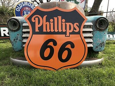 Antique Vintage Old Style Phillips 66 Service Station Sign!