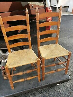 1800s Ladder Back Rush Seat Chairs
