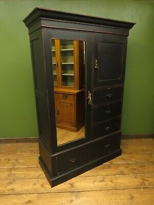 Antique Black Painted Wardrobe, Compactum Wardrobe Linen Press, 3 parts, Compact