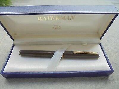Fountain Pen (Pluma) Waterman Mod. Concorde Marron Y Plaque Oro De Los  Años 90