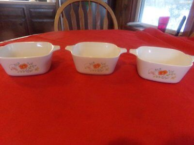 3 Corning Ware Wildflower Petite 2 3/4 Cup Dishes