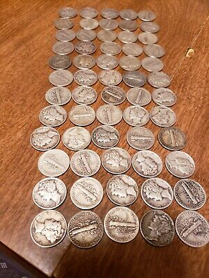 Mercury Dimes Lot Of 60 Coins 1940's Dates 90% Silver $ 6 Face Value