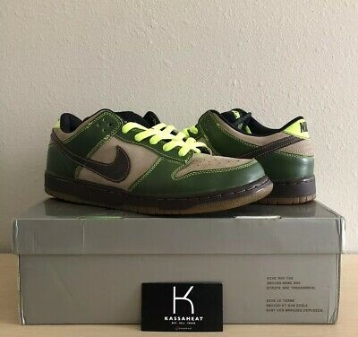 ed41657caf97 Nike Dunk Low Pro SB Jedi Brown Green Khaki Volt 304292-222 US 12 Diamond
