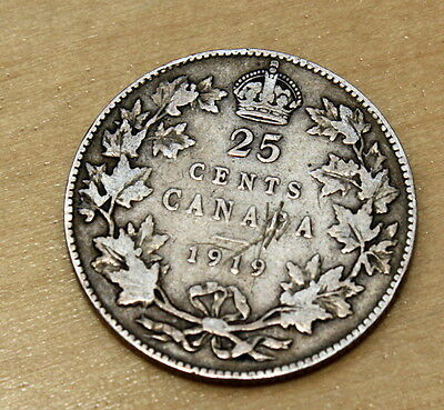 1919 Canada 25 Cents Silver