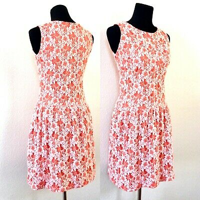 1980s RETRO CYNTHIA ROWLEY CORAL LACE OVERLAY DROP WAIST SKATER DRESS SMALL 6