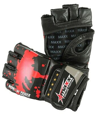 maxx Pro Gel Leather Boxing MMA Gloves Grappling Punching Bag Training Martial
