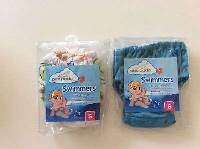 Pea Pods Swimming Toilet Training Nappy Bundle X 2 Blue & Multi Small 0-4 Months