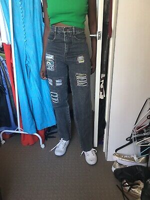 High Waisted Vintage 90s Denim Jeans Grey  With Patches Fits Size 8