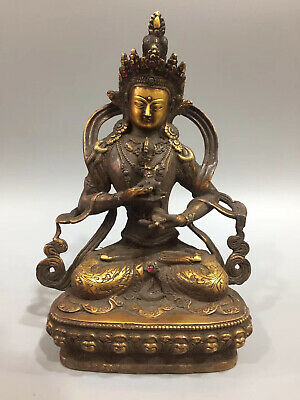 Chinese antique pure copper hand-carved bodhisattva statue.