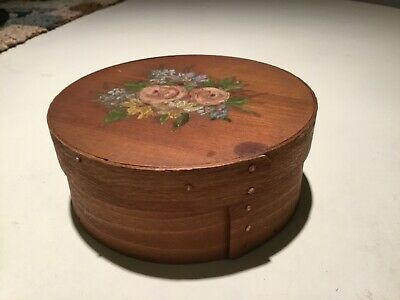 Antique Primitive Round Bentwood Shaker Pantry Box Wood Small  Stacking